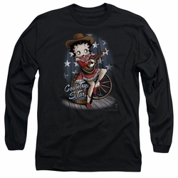 Betty Boop adult long-sleeved shirt Country Star black