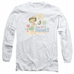 Betty Boop adult long-sleeved shirt Hot In Hawaii white