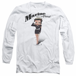 Betty Boop adult long-sleeved shirt Marine Boop white