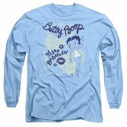 Betty Boop adult long-sleeved shirt Miss Behavin' carolina blue
