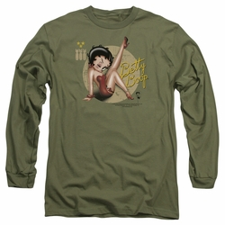 Betty Boop adult long-sleeved shirt Nose Art military green