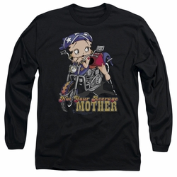 Betty Boop adult long-sleeved shirt Not Your Average Mother black