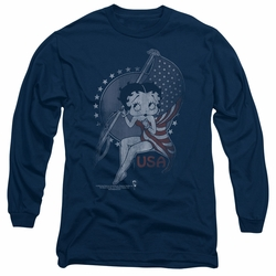 Betty Boop adult long-sleeved shirt Proud Betty navy