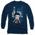 Betty Boop adult long-sleeved shirt Square navy