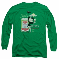 Betty Boop adult long-sleeved shirt Vampire Tomato Juice kelly green