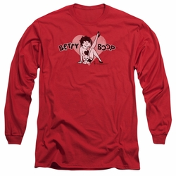Betty Boop adult long-sleeved shirt Vintage Cutie Pup red