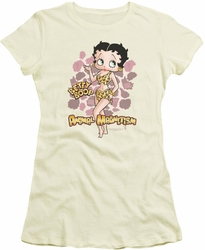 Betty Boop juniors sheer t-shirt Animal Magnetism cream