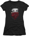 Betty Boop juniors sheer t-shirt Bandana & Roses black
