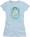Betty Boop juniors sheer t-shirt Bathing Beauty light blue