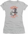 Betty Boop juniors sheer t-shirt BBMC Motorcycle Club silver