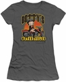 Betty Boop juniors sheer t-shirt Betty's Motorcycles charcoal