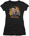 Betty Boop juniors sheer t-shirt Biker Flames Boop black