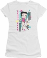 Betty Boop juniors sheer t-shirt Booping 80s Style white
