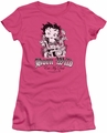 Betty Boop juniors sheer t-shirt Born Wild hot pink