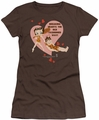 Betty Boop juniors sheer t-shirt Breaking Hearts coffee