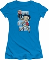 Betty Boop juniors sheer t-shirt Comic Strip turquoise