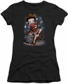 Betty Boop juniors sheer t-shirt Country Star black