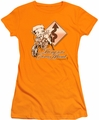 Betty Boop juniors sheer t-shirt Dangerous Curves orange