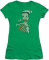 Betty Boop juniors sheer t-shirt Define Naughty kelly green