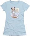 Betty Boop juniors sheer t-shirt Eyechart light blue