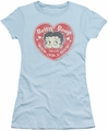 Betty Boop juniors sheer t-shirt Fan Club Heart light blue