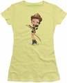 Betty Boop juniors sheer t-shirt Firefighter banana