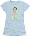 Betty Boop juniors sheer t-shirt Flowers light blue