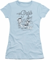 Betty Boop juniors sheer t-shirt Greetings From Paris light blue