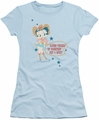 Betty Boop juniors sheer t-shirt Hot And Spicy Cowgirl light blue