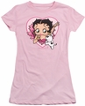 Betty Boop juniors sheer t-shirt I Love Betty pink