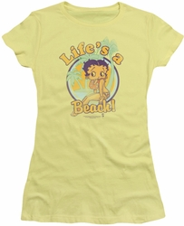 Betty Boop juniors sheer t-shirt Life's A Beach banana