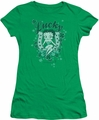 Betty Boop juniors sheer t-shirt Lucky Boop kelly green