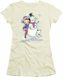 Betty Boop juniors sheer t-shirt Melting Hearts cream