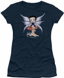 Betty Boop juniors sheer t-shirt Mushroom Fairy navy