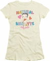 Betty Boop juniors sheer t-shirt Natural Brunette cream