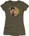 Betty Boop juniors sheer t-shirt Nose Art military green