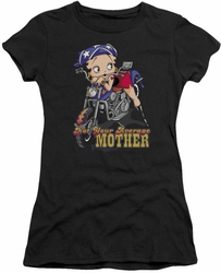 Betty Boop juniors sheer t-shirt Not Your Average Mother black