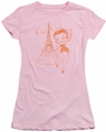 Betty Boop juniors sheer t-shirt Oui Oui pink