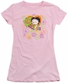 Betty Boop juniors sheer t-shirt Peace Love And Boop pink