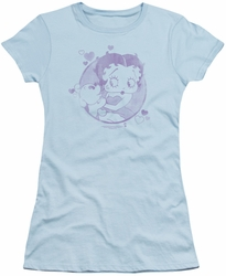 Betty Boop juniors sheer t-shirt Perfect Kiss light blue