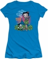 Betty Boop juniors sheer t-shirt Polynesian Princess turquoise