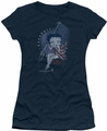 Betty Boop juniors sheer t-shirt Proud Betty navy
