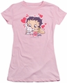 Betty Boop juniors sheer t-shirt Puppy Love pink