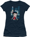 Betty Boop juniors sheer t-shirt Square navy