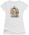 Betty Boop juniors sheer t-shirt Surfers white