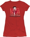 Betty Boop juniors sheer t-shirt Timeless Beauty red