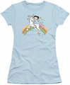 Betty Boop juniors sheer t-shirt Unicorn And Rainbows light blue