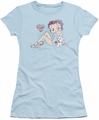 Betty Boop juniors sheer t-shirt Vintage Pin Pup light blue