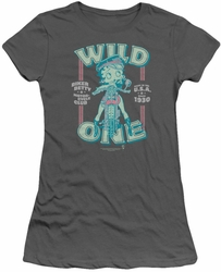 Betty Boop juniors sheer t-shirt Wild One charcoal