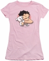 Betty Boop juniors sheer t-shirt Wink Wink pink